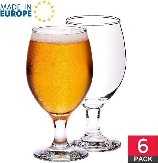 Craft - Juego de 6 copas de cerveza de tulipán con tallo estilo belga, IPA cerveza de vidrio de saborización, 13 1/2 onzas: Amazon.es: Hogar