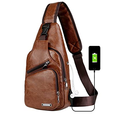 be03cbf3175d Men s Sling Bag Vintage Leather Chest Shoulder Backpack Crossbody Purse  with USB Charging Port for Hiking Cycling Camping Daypacks  Amazon.co.uk   Shoes   ...