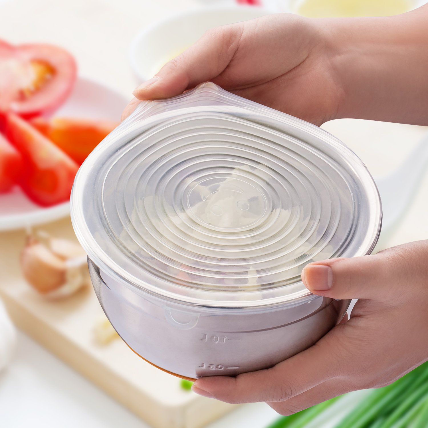 Silicone Stretch Lids, 6-Pack Various Sizes Cover for Bowl by i-Kawachi (Image #5)