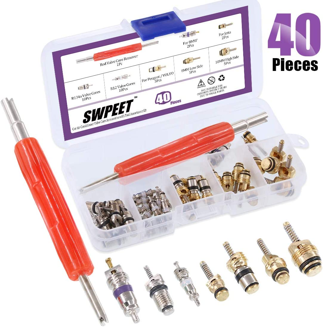 Swpeet 40Pcs Air Conditioning Valve Core Kit, A/C R12 R134a Refrigeration Tire Valve Stem Cores With Remover tool for Most car