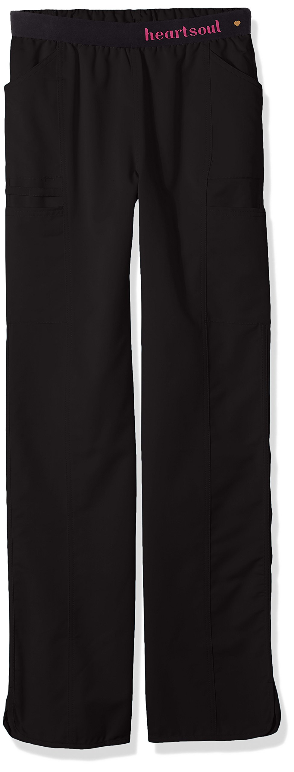 HeartSoul Scrubs Women's Head Over Heelsso in Love Low Rise Pull-on Pant, Black, X-Large Tall by HeartSoul Scrubs (Image #1)