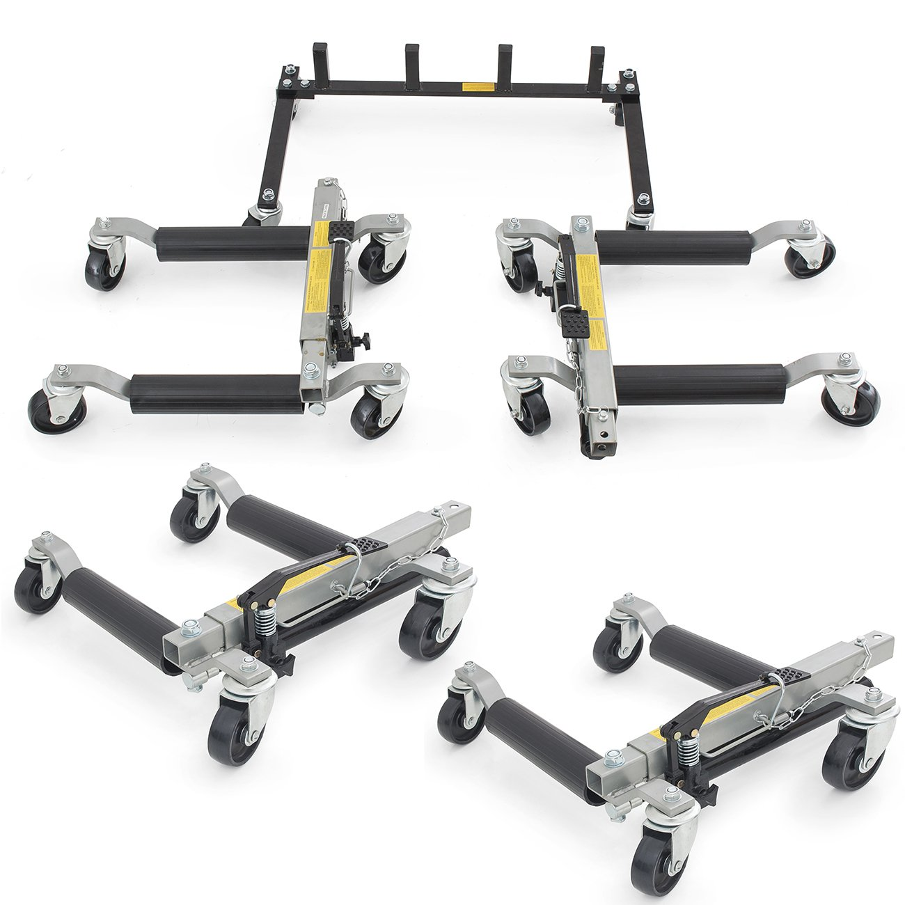 ARKSEN 4PC Hydraulic Vehicle Positioning Jacks 12'' Tire Dolly EZ Lift Car Mover w/ Stand