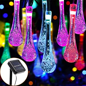 PUHONG Solar String Lights Water Drop Lights,2 Pack 20 Feet 30 LED Fairy Tear Drop Lights with 8 Modes, Waterproof Crystal Lights for Garden Patio Yard Home Bar Party Xmas Easter Decor(Multicolor)