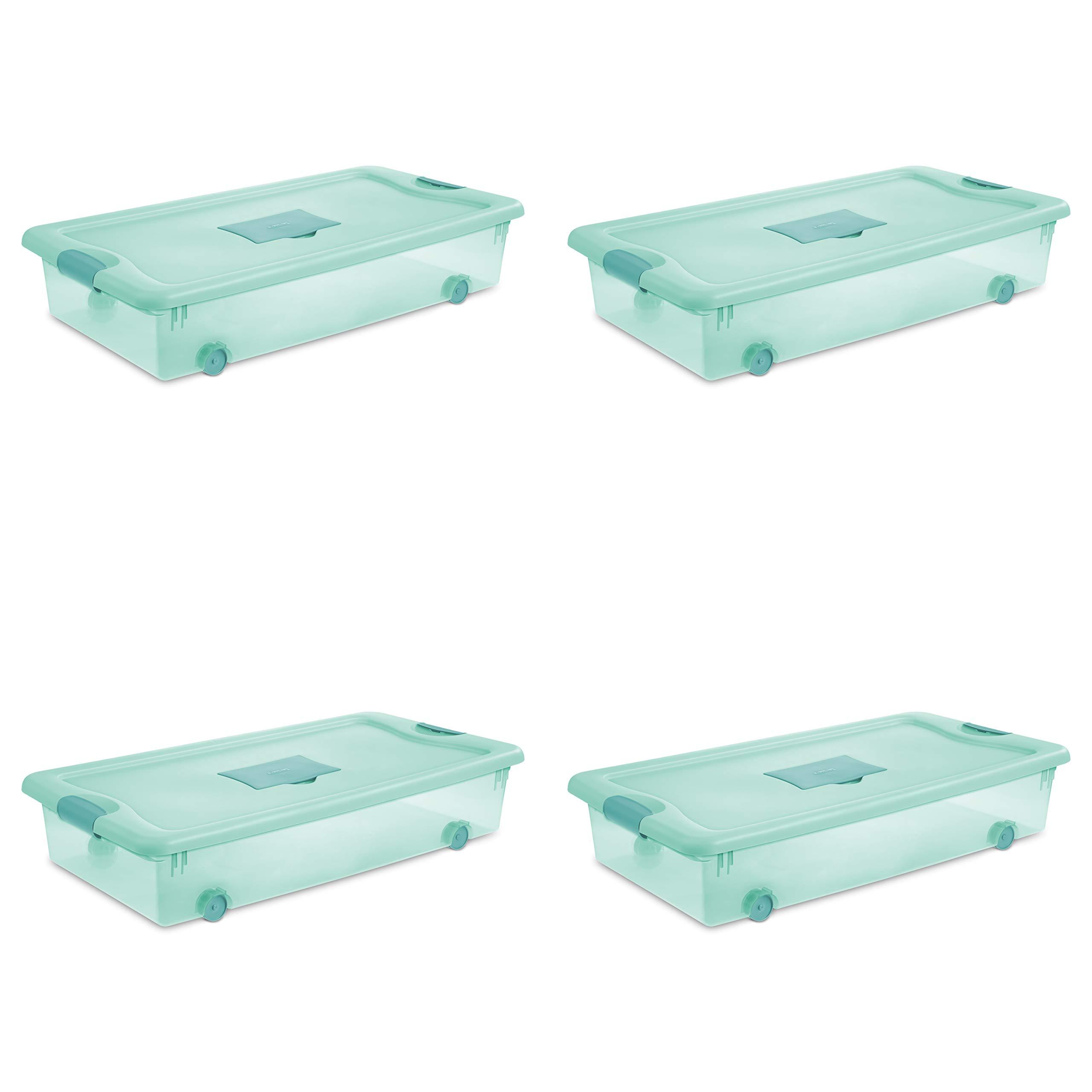 STERILITE 15087Y04 Fresh Scent Box, 56 Quart, Tint/Aqua Chrome/Teal Splash by STERILITE