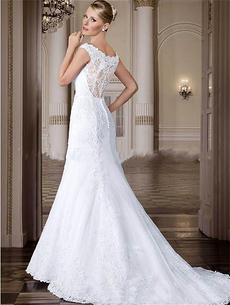 0859010e9 HAPPYMOOD Vestido de Novia Mujer Vestido de Boda Largo Elegante Fiesta  Banquete Nocturno Desgaste Nupcial Diseño