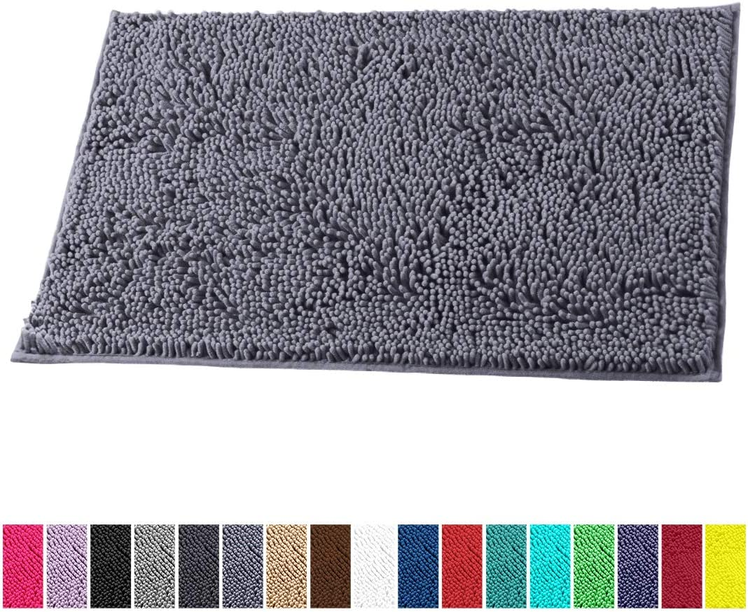 LuxUrux Bath Mat-Extra-Soft Plush Bath Shower Bathroom Rug,1'' Chenille Microfiber Material, Super Absorbent Shaggy Bath Rug. Machine Wash & Dry (15 x 23, Dark Gray)