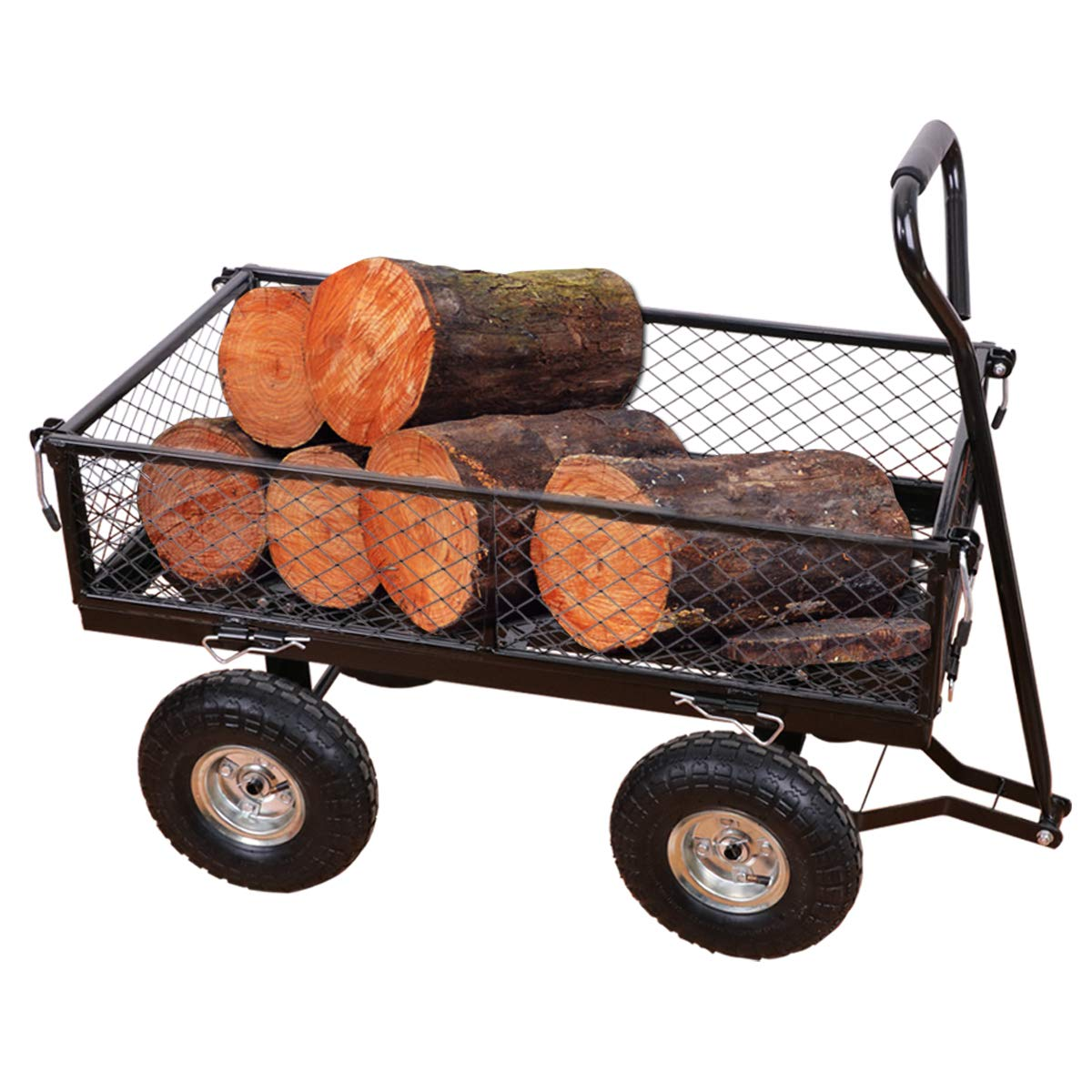 Yardeen Steel Wagon Cart Wheelbarrow Trailer Heavy Duty Outdoor Large Garden Trolley Load Capacity 400LB Color Black