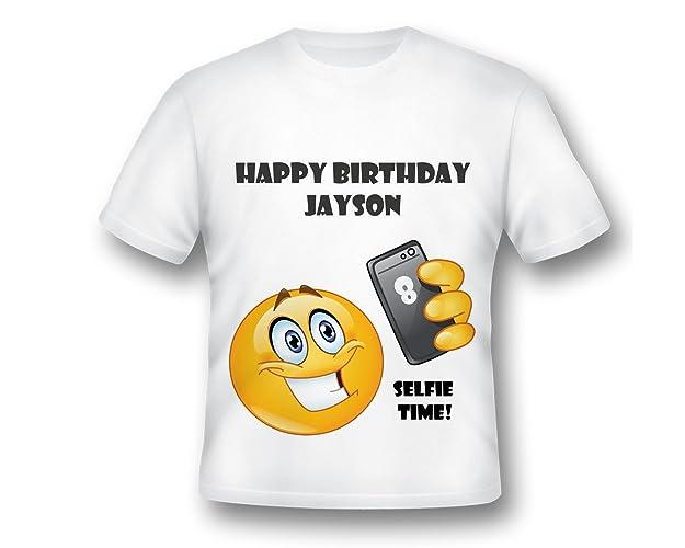 Custom Emoji Birthday Party Shirt Selfie OMG BIRTHDAY SHIRT