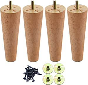 Couch Legs 6 Inch, Round Solid Wood Furniture Feet, Wooden Sofa Legs Set of 4, Chair Legs Replacement for Bed, Armchair, Coffee Table, Mid Century Modern DIY Tapered Furniture Legs