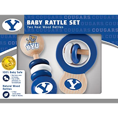 MasterPieces NCAA Brigham Young BYU Cougars, Natural Wood, Non-Toxic, BPA, Phthalates, & Formaldehyde Free, Baby Rattle, 2 Pack: Sports & Outdoors