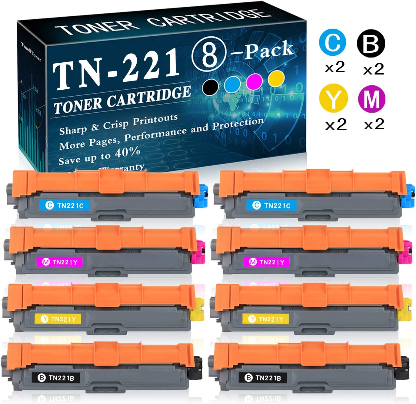 8-Pack(2BK+2C+2M+2Y) TN-225 Toner Cartridge Replacement for Brother Laserjet HL-3140CW HL-3150CDN MFC-9130CW MFC-9330CDW DCP-9015CDW DCP-9020CDN Printer Printer,by TmallToner