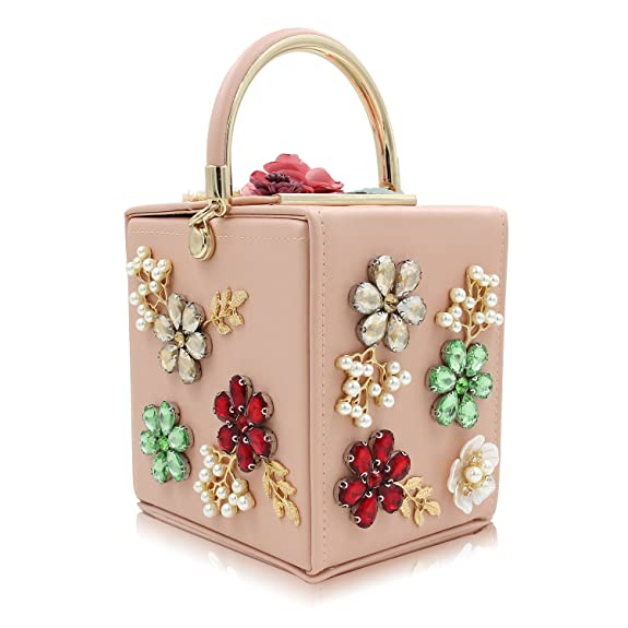 Vintage & Retro Handbags, Purses, Wallets, Bags Womens Clutches Handbag Beaded Flower Box Evening Bag Wedding Party Purse $35.99 AT vintagedancer.com
