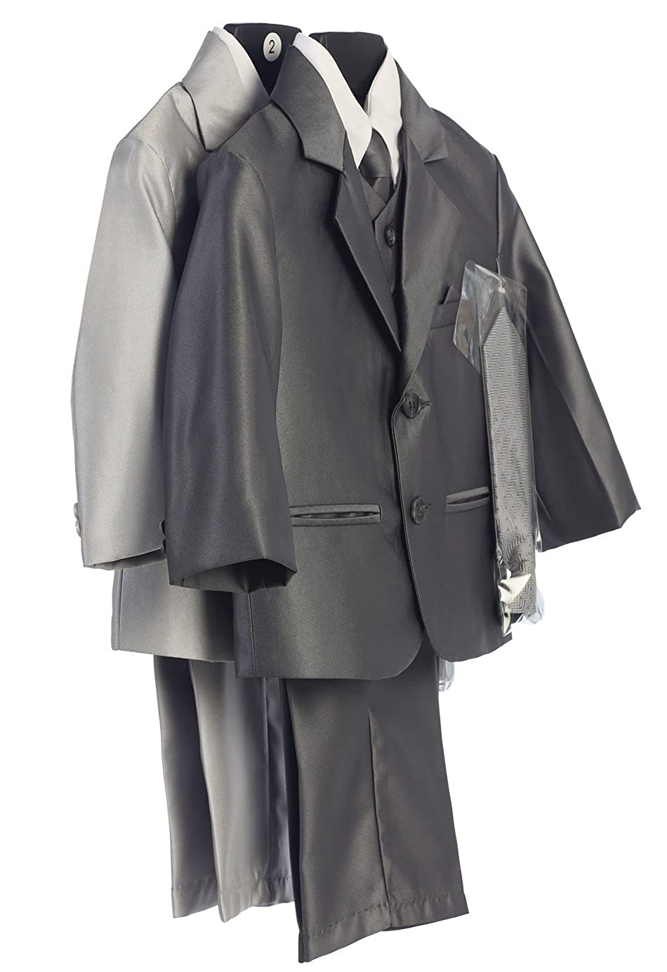 Boys 2-Button Metallic Suit with Vest and 2 Ties Pewter L 12-18 Months