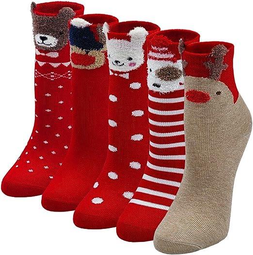 XL MMTX Girls Boys Socks Unisex Christmas Cute Cotton Sock 5 Pairs Novelty Cotton Rich Socks Animal Santa Claus Reindeer Christmas Socks Winter Socks for Kids 3-12 Years