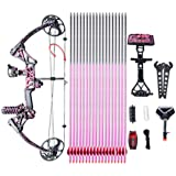 """Compound Bow Ship From USA Warehouse,Topoint Archery Special Gift for Women, Package M1,19""""-30"""" Draw Length,10-50Lbs Draw Weight,LIMBS MADE IN USA Hunting Bow For girls,Whole Muddygirl Color"""