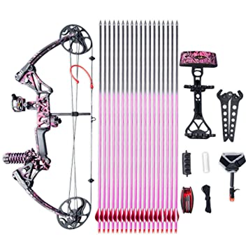 """Review Compound Bow Ship From USA Warehouse,Topoint Archery Special Gift for Women, Package M1,19""""-30"""" Draw Length,10-50Lbs Draw Weight,LIMBS MADE IN USA Hunting Bow For girls,Whole Muddygirl Color"""