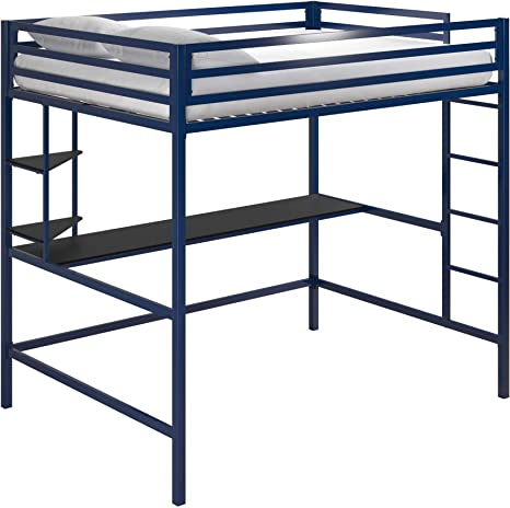 Amazon Com Novogratz Maxwell Metal Full Loft Desk Shelves Navy Black Bunk Beds Blue Furniture Decor