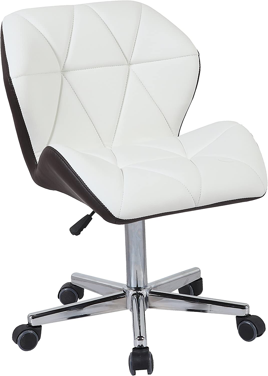 White//Brown HNNHOME Modern Uranus Padded Swivel Leather Computer Desk Office Chair Mixed Color