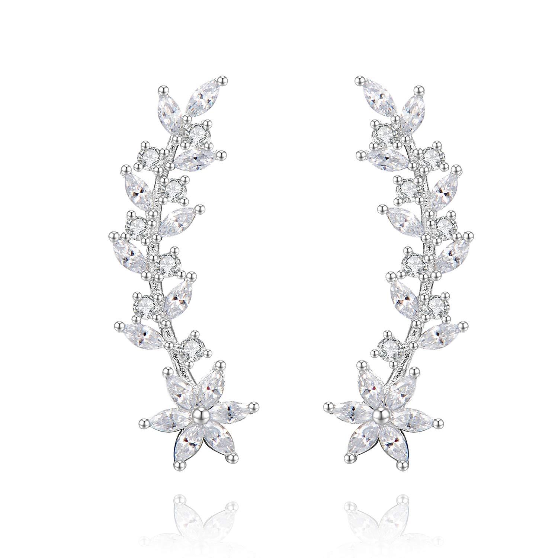 Ear Crawler Earrings Ear Climber - 14k Gold Plated 925 Sterling Silver Flower Ear Cuff Wedding Earrings (Silver)