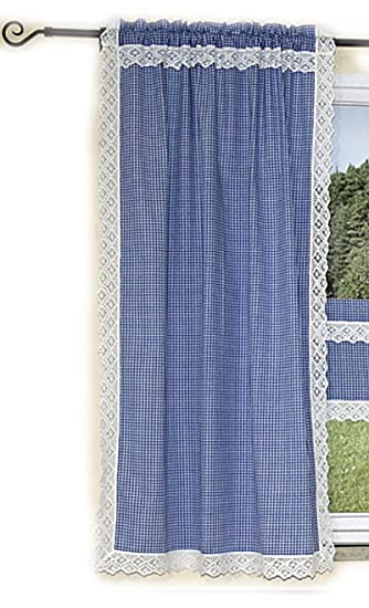 Hochwertige Gardine 90 X 150 Cm Seitenschal Schal Übergardine LANDHAUSstil  BLAU Weiß KARIERT Handarbeits   SPITZE
