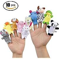 Ciaoed 10 pcs Different Cartoon Animal Finger Puppets Soft Velvet Dolls Props Toys