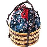 【さらさ】 竹かご巾着 かごバッグ 小さめ丸型 竹籠 小桜 おしゃれ巾着 kk-128