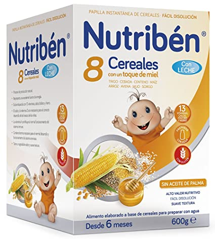 NUTRIBEN 8 CEREALES MIEL C/LECHE 600 GR.: Amazon.es: Alimentación y bebidas