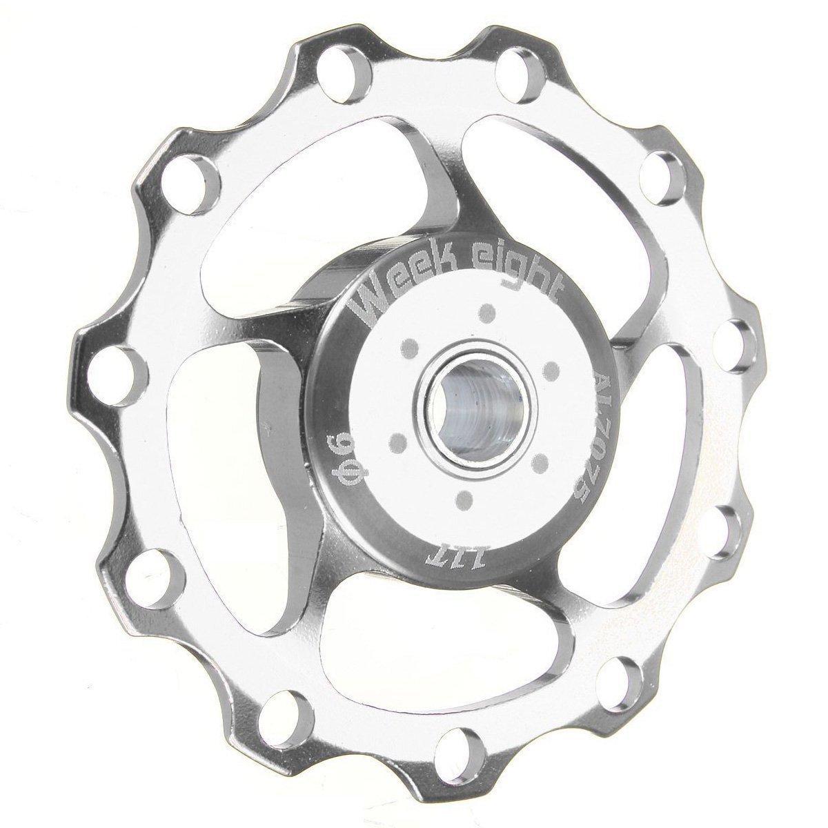 week eight polea de cambio trasero de rueda de guia de 11 dientes de bicicleta de montana de aluminio para jinete para SHIMANO SRAM plata Rueda de guia de bicicleta