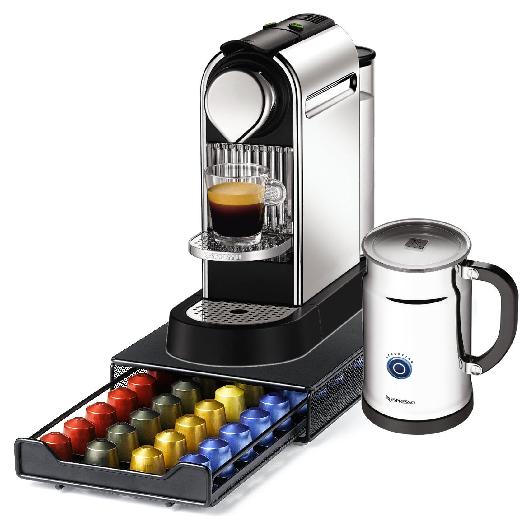 Nespresso Citiz C111 Chrome Single Serve Espresso Machine and Aeroccino Bundle and Bonus 40 Capsule Storage Drawer