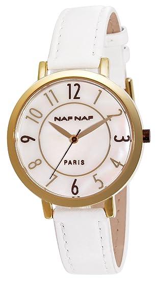 Naf Naf N10132-101 - Reloj analógico para Mujer de Cuero Resistente al Agua nácar: Amazon.es: Relojes