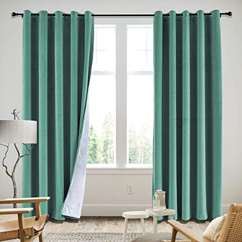 cololeaf Extra Long Blackout Curtains Grommet Velvet Curtains Blackout Shades Room Darkening Blinds Thermal Insulated Curtain