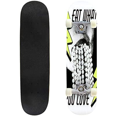 Classic Concave Skateboard Eat What You Love Vector Hand Drawn Illustration of Mouth with Bead Longboard Maple Deck Extreme Sports and Outdoors Double Kick Trick for Beginners and Professionals : Sports & Outdoors
