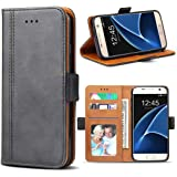 Samsung Galaxy S7 Case, Bozon Wallet Case for Galaxy S7 Flip Folio Leather Cover with Stand/Card Slots and Magnetic Closure (Dark Grey)