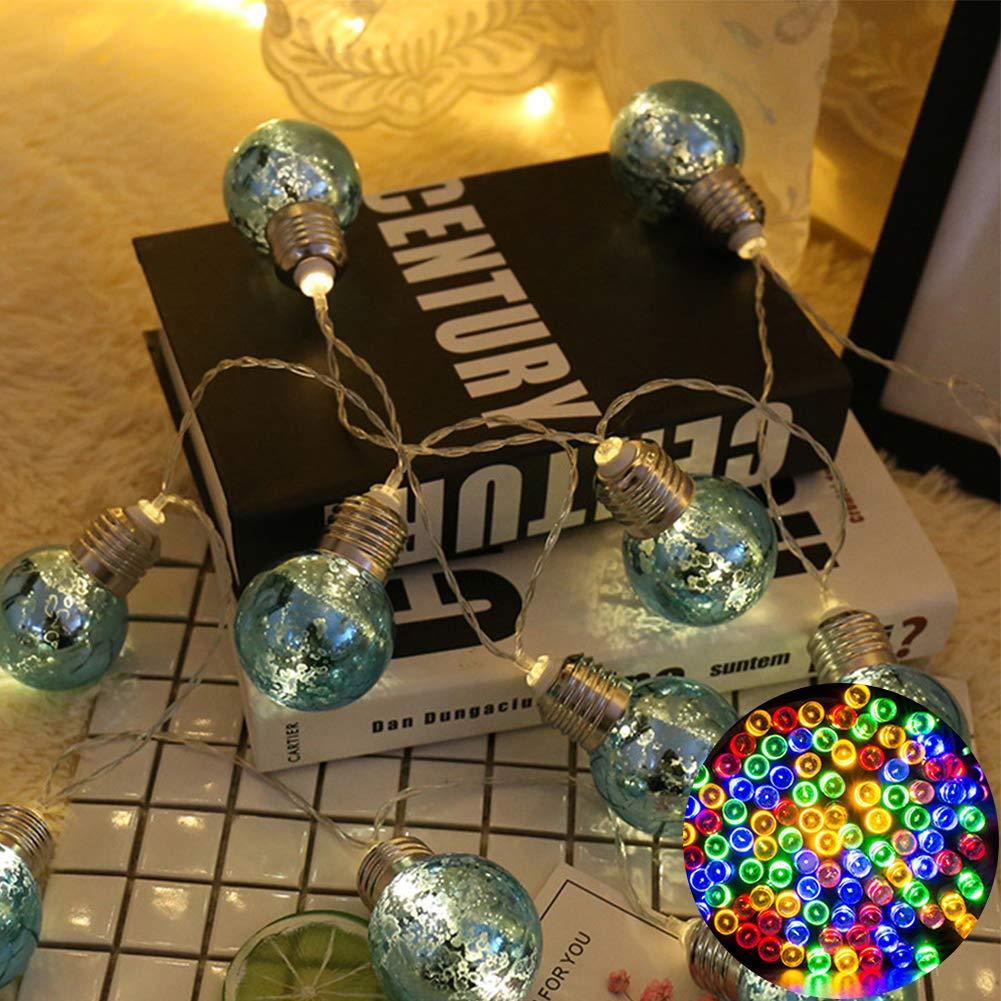 LED Fairy String Lights, LED Ball String Lights, Indoor Outdoor Xmas Lights Globe Fairy String Lights Starry Lights, for Garden, Home, Wedding 1.5/2/3/5m(1.5m 10 Bulbs,Colorful Light+blue Bulbs) by Ragdoll50 (Image #1)