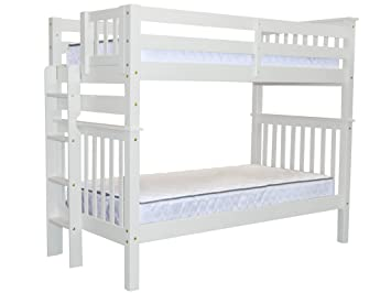 Bedz King Tall Bunk Beds Twin Over Mission Style With End Ladder White