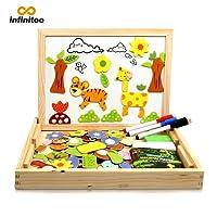 Puzzle Magnetico Legno Lavagna Magnetica Bambini Infinitoo Puzzle Numeri 100 Pezzi Animali Vegetazione Giochi Educativi Giochi Creativi Costruzioni per Bambini 3 anni 4 anni 5 anni, ecc (100 pezzi)
