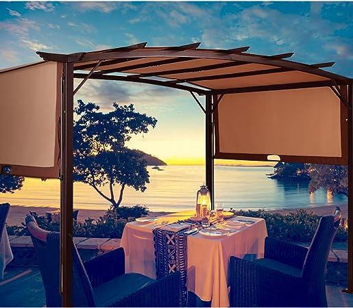 TANGKULA - Toldo de pérgola para exterior de jardín o patio, marco de acero, con toldos retráctiles: Amazon.es: Jardín