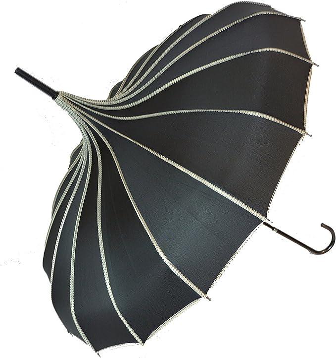Boutique Plain Pagoda Stick Umbrella in Pink Beige Black White and Grey