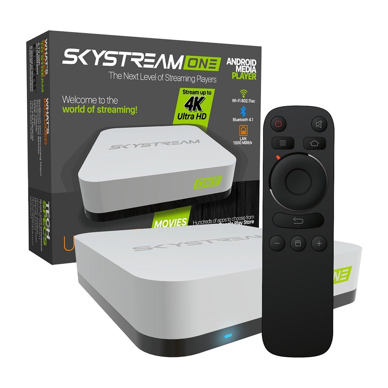 SkyStream ONE Streaming Media Player   Android TV Box with 2GB/16GB, SkyStreamTV, 4K, AC Wireless & Ready to Stream Media Center