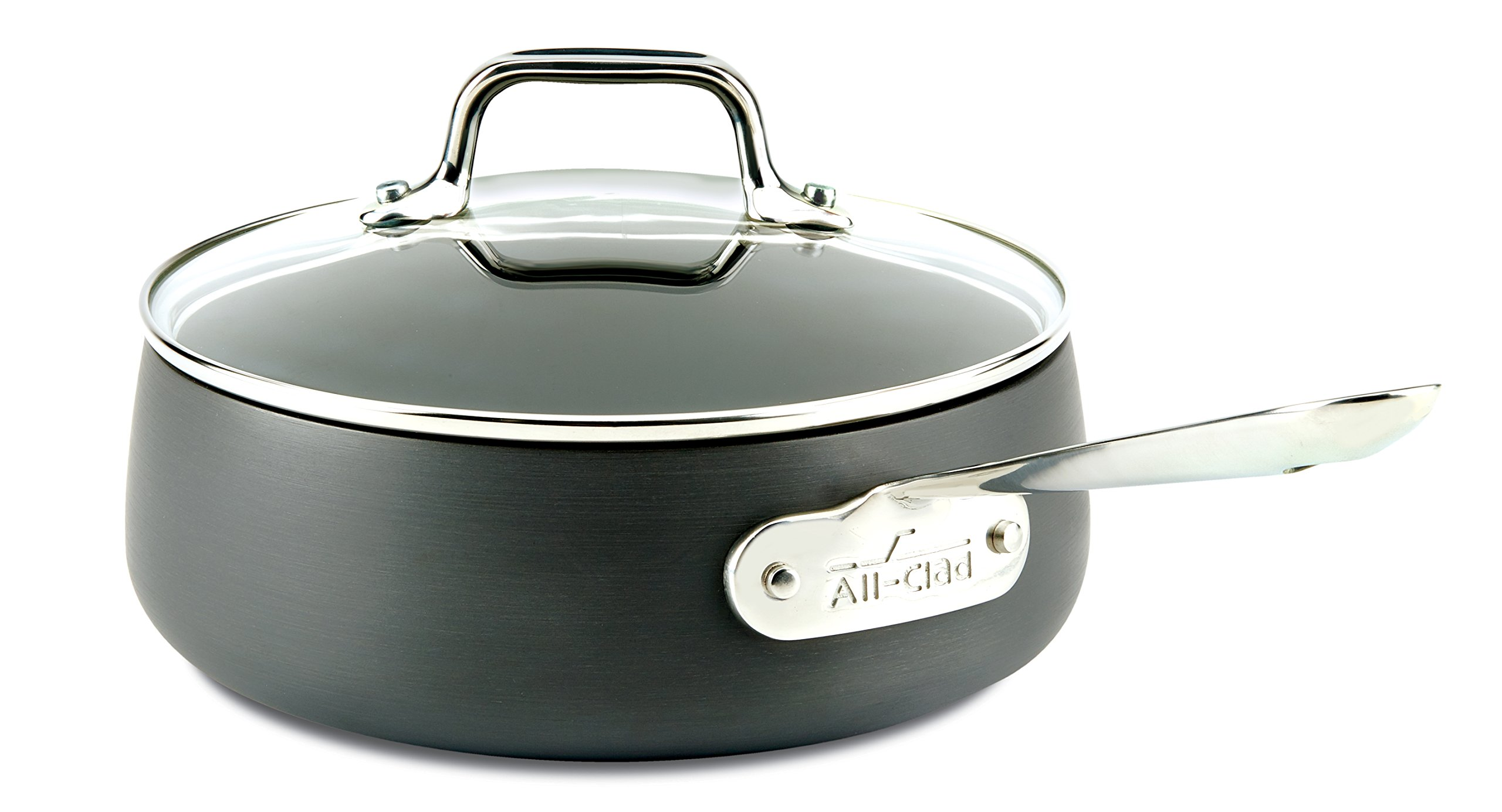 All-Clad E7852664 HA1 Hard Anodized Nonstick Dishwasher Safe PFOA Free Sauce Pan Cookware, 2.5-Quart, Black by All-Clad