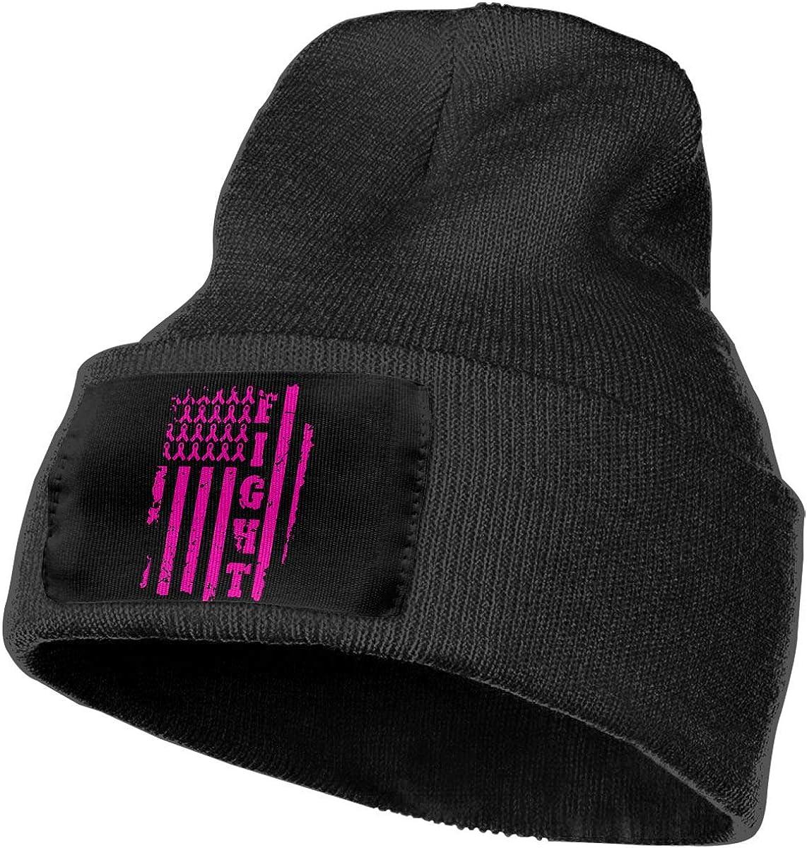 COLLJL-8 Men /& Women Cancer Awareness Pink USA Flag Outdoor Stretch Knit Beanies Hat Soft Winter Knit Caps
