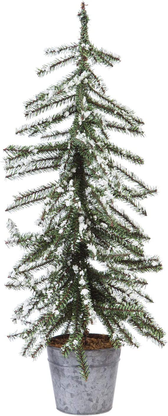 Cypress Home Beautiful Christmas Snow Covered Tree Table Top Décor - 9 x 9 x 36 Inches Indoor/Outdoor Decoration for Homes, Yards and Gardens