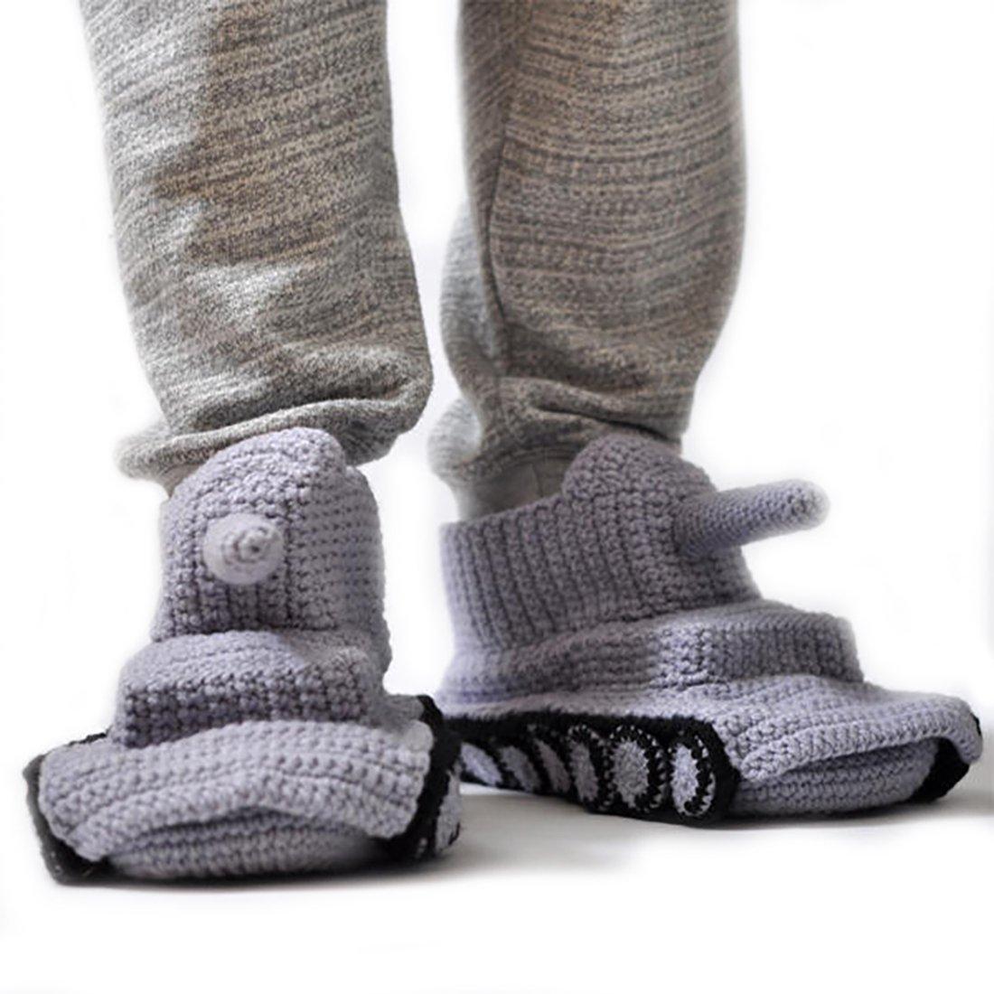 Amazon.com: Handmade Crochet Grey Tank Slippers, handknitted ...