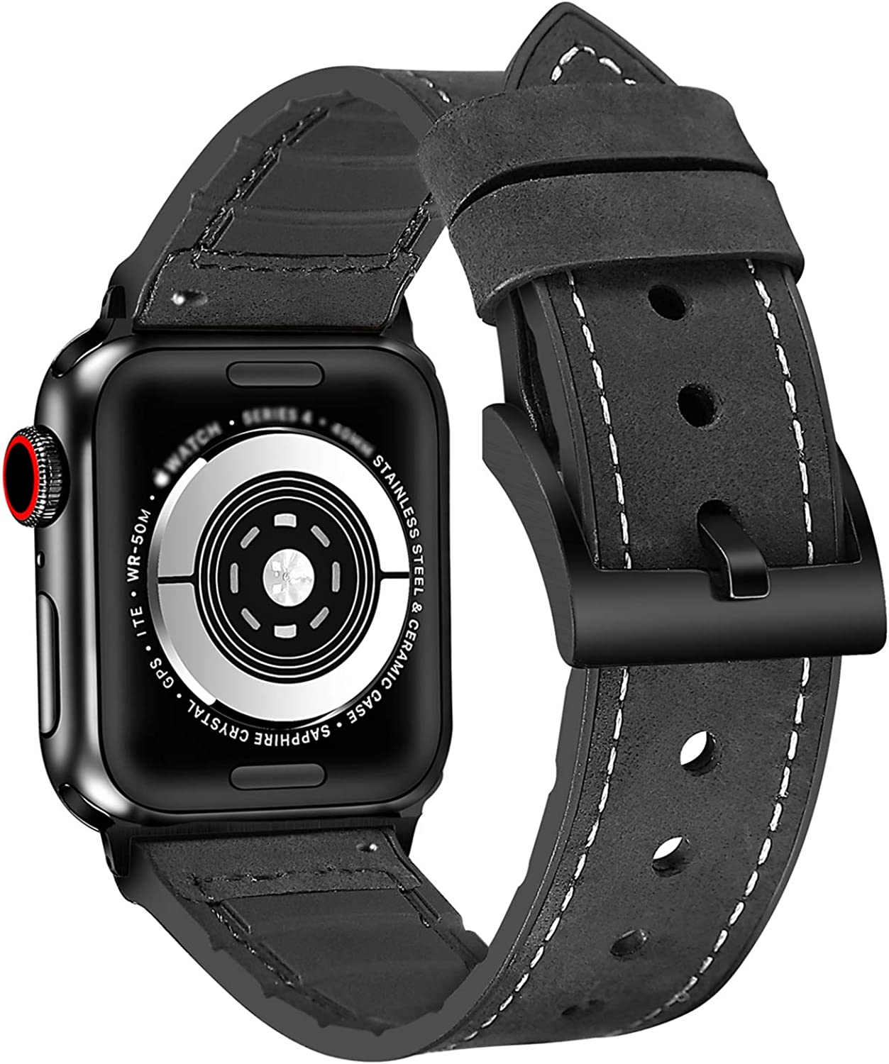 Huanchenda 2 in1 Leather Watch Band for Men and Women Compatible with Apple Watch Band Series 5/4/3/2/1, Replaceable Apple Strap 38mm40mm42mm44mm and Other 22mm Smartwatch Band