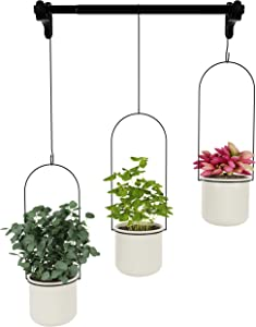Hanging Planter with 3 Ceramic Pots - Hanging Planters for Indoor Plants, Succulents, Vine Plants, Flowers - Hanging Herb Garden - Hanging Plant Holder - Modern Home Decor for Wall, Kitchen, Window