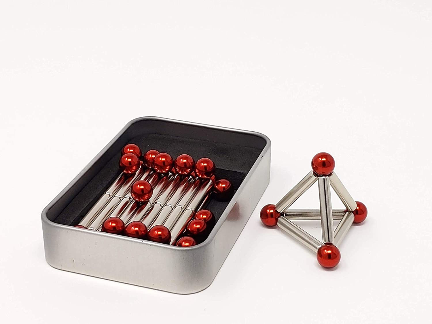 Magnetic bars and balls set, cool toys and gifts for adults for construction fun . The best magnet gadgets for office desk or home. A desktop toy for building, play or for decor. (Silver Red Tin Pack)