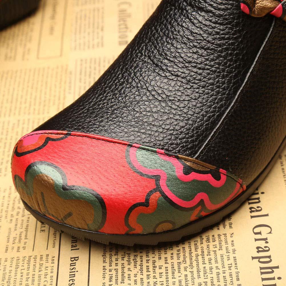 FTCayanz Damen Stiefel Leder Stiefeletten Weinlese Kontrastfarbe Lederschuhe Flats