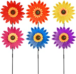 Yolyoo 6pcs Sunflower Lawn Pinwheels Wind Spinners Large Windmill Pinwheel for Garden,Yard, Party Outdoor Decor