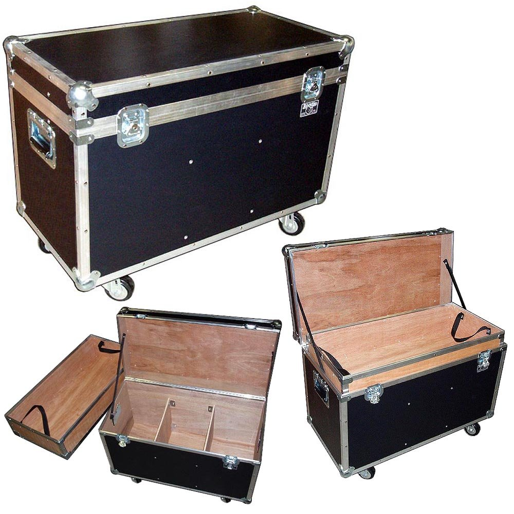 Trunk Case - 31 Inch Bully Supply ATA Trunk W/wheels - Top Tray - 2 Dividers - Light Duty 1/4 Ply - Color Black Roadie Products Inc.