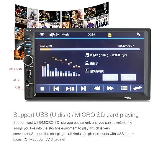 【Summdey】 2 DIN Coche estéreo de 7 Pulgadas Universal HD BT Radio FM MP5 Reproductor USB/TF Aux Entrada táctil Reproductor de Pantalla con cámara de ...